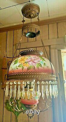Antique Miller Hanging Oil Lamp Matching Pink Floral Shade And Font