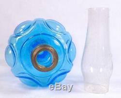 Antique Miniature Lamp Daisy Kerosene Oil Blue Glass Butler Brothers EAPG 1912