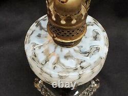 Antique Miniature Oil Lamp Hobbs Brockunier Opalescent Seaweed Coral Reef