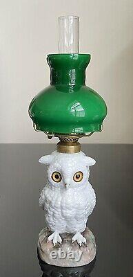 Antique Miniature Porcelain Owl Figurine Oil Kerosene Lamp COMPLETE! SCARCE
