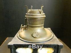 Antique Mission Cast Iron & Slag Glass Parlor Oil Lamp Base 13.25 x 6.25 Excel