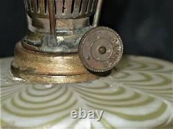 Antique Nailsea V V rare Miniature Oil Lamp with Antique Brass Stand OUTSTANDING