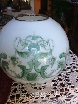 Antique Nautical Mermaid Banquet Lamp / Conk Shell Font / Nautical Ball Shade