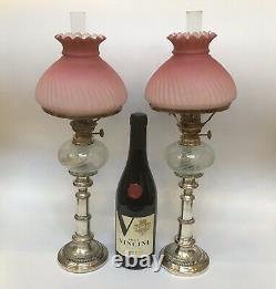 Antique Near Pair Of Peg Oil Lamps Cranberry Satin Glass Shades Opalescent Fonts