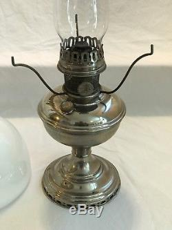 Antique Nickel Plated Model 11 Aladdin Generator Oil Lamp with Chimney, Shade EX