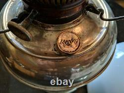 Antique Nickle Rayo Oil Lamp All Original