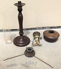 Antique Nu-type Model B Burner Aladdin Oil Lamp Wooden Base USA