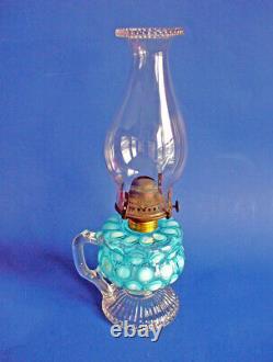 Antique OIL Kerosene LAMP Coin Dot Opalescent Glass AQUA BLUE E Miller Venus
