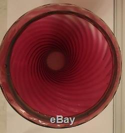 Antique Oil Kerosene Angle Lamp Cranberry Ruby Glass Chimney