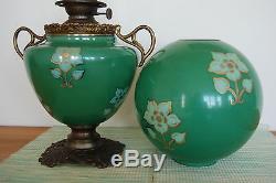 Antique Oil Kerosene Art Nouveau Deco Arts And Crafts Emerald Green Banquet Lamp