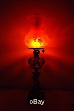 Antique Oil Kerosene Boston Sandwich Cut Eapg Glass Gwtw Victorian Banquet Lamp