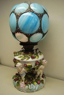 Antique Oil Kerosene Dresden Sitzendorf Porcelain Gwtw Cherub Slag Glass Lamp