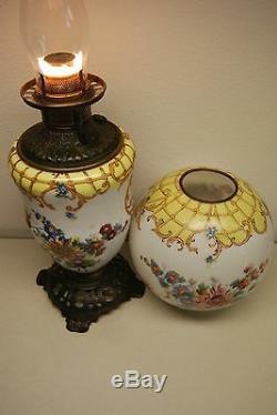 Antique Oil Kerosene Fostoria Glass Victorian Wild Daisy Corn Flower Gwtw Lamp
