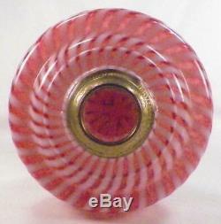 Antique Oil Kerosene Lamp Cranberry Opalescent Reverse Swirl Buckeye Glass #528