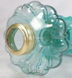 Antique Oil Kerosene Lamp Teal Pressed Glass PATTERN MAKER HELP A Beauty EAPG