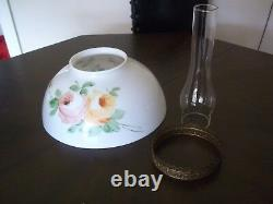 Antique Oil Lamp Fixture ROSES CEILING PENDANT VICTORIAN Crystal Prisms Hanging