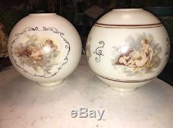 Antique Oil Lamp Light Glass Shade Gone With The Wind GWTW Cherub Angel Vtg