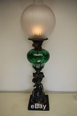Antique Old Boston Sandwich Glass Eapg Oil Kerosene Banquet Victorian Gwtw Lamp