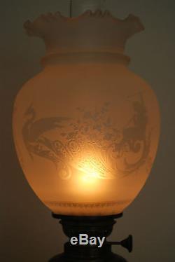 Antique Old French Empire Bronze Lion Oil Kerosene Gwtw Banquet Candelabra Lamp