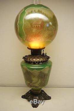 Antique Old Green Glass Kerosene Oil Gwtw Banquet Parlor Victorian Vintage Lamp