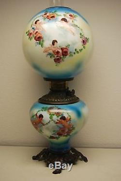 Antique Old Kerosene Oil Gwtw Cherub Roses Banquet Parlor Victorian Vintage Lamp