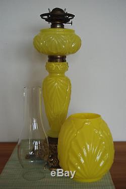Antique Old Oil Kerosene Fostoria Glass Victorian Lighting Banquet Gwtw Lamp