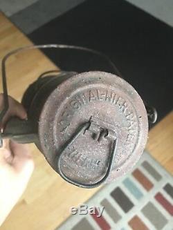 Antique Old Primitive Oil Gas Kerosene German Feuer Hand Lamp N275 Lantern