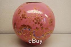 Antique Old Victorian Kerosene Oil Gwtw Lamp Shade Glass Globe Art Nouveau Deco