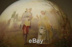 Antique Old Victorian Kerosene Oil Gwtw Lamp Shade Glass Globe Hand Painted