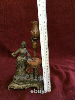 Antique Original 1880's Figural Cigar Oil Lamp Lighter/ Miniature Oil Lamp