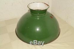 Antique Original Coleman 334 Oil Green Porcelian Enamel Steel Gas Lamp Shade