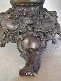 Antique Ornate P&A ROYAL Banquet Oil Kerosene Table Lamp & Shade