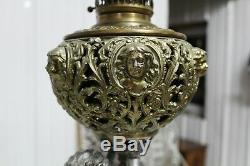 Antique Ornate Victorian Cherub Banquet Oil Lamp Kerosene Figural Font Gwtw