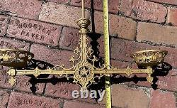 Antique Ornate Victorian Kerosene OIL Gas 2 Arm Hanging Lamp Chandelier Oil #4
