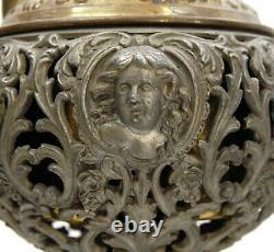 Antique Ornate Victorian M&w 94 Brass & Onyx Banquet Parlor Oil Kerosene Lamp