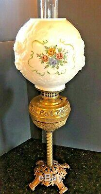 Antique Ornate Victorian Parlor Oil Lamp Brass Hand Painted Globe Pedestal Lamp