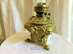 Antique P&A P & A Parlor Oil Lamp Lion and Lady Head Cast Iron Double Wick WOWEE