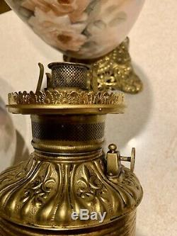 Antique P&A Royal Parlor (Victorian / GWTW) Oil Lamp with Handpainted Pink Roses