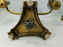 Antique Pair Lewis Vernon Philadelphia Double Light Bronze Argand Oil Lamps
