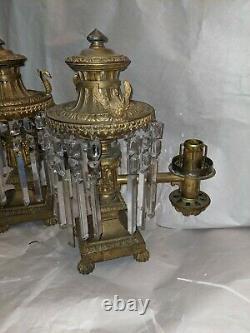 Antique Pair Lewis Vernon Philadelphia Light Bronze Argand Oil Lamps