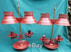 Antique Pair Of Red Tole Candle Stick Lamps MAGNIFICENT