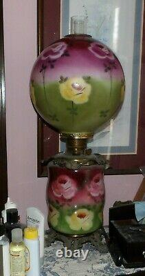 Antique Parlor Oil Lamp, Fostoria Glass Co, Solid Brass Font, New Wick, 30tall