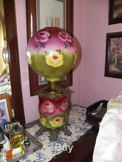Antique Parlor Oil Lamp, Fostoria Glass Co. Solid Brass Font, New Wick, 30tall