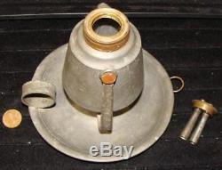 Antique Pewter Gimbal Whale Oil Lamp, Chamberstick, Original Burner, c. 1825
