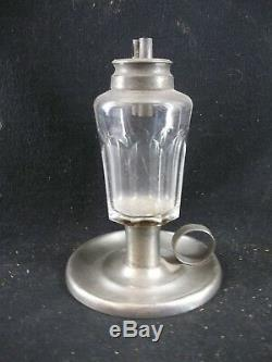 Antique Pewter & Glass Whale Oil Lamp By Smith & Co