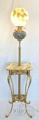 Antique Piano / Organ Lamp in Fabulous Condition Hand Painted Shade Electrified