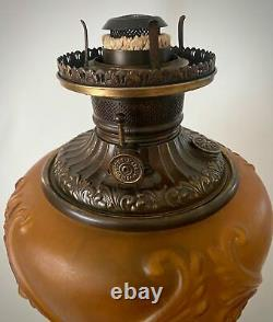 Antique Pittsburgh GWTW Oil Parlor Gone with the Wind Cherub Face Amber Oil Lamp