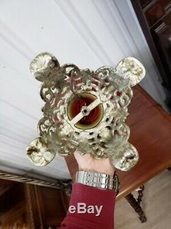 Antique Pittsburgh Gone With The Wind Parlor Lamp Red Rose Relief Design Glass
