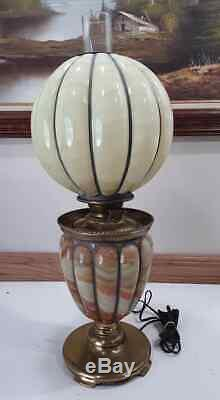 Antique Pittsburgh Success Slag Hurricane Parlor Oil Lamp Converted Electric