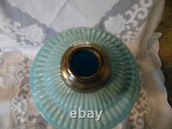 Antique Portieux Vallerysthal Blue Opaline Oil Lamp